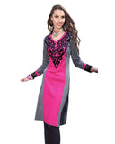 Woolen Deep Pink Color With Embroided Kurti