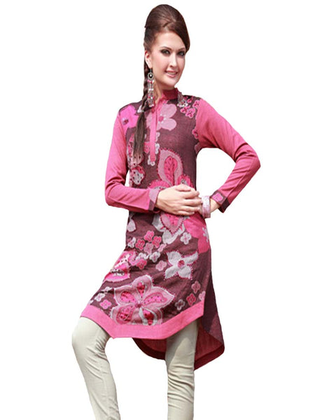 Woolen Deep Pink Color Printed Kurti