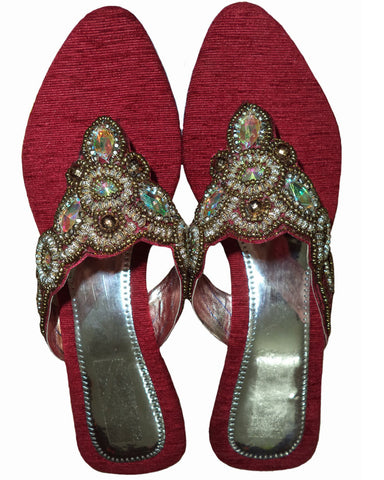 Designer Red Color Beaded Chappal