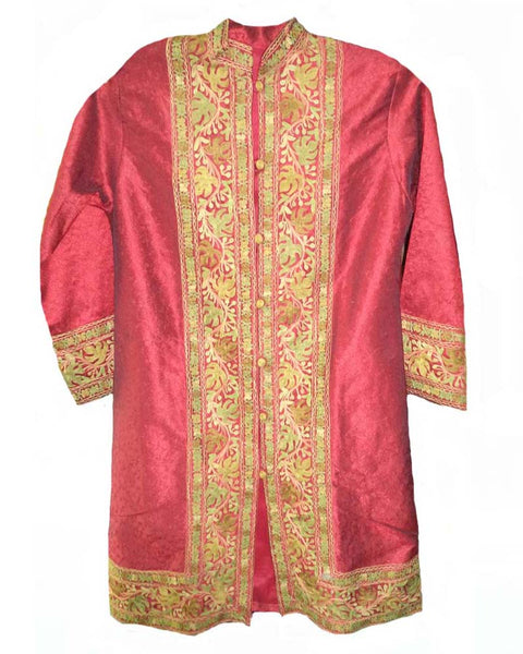 Traditionl Kashmiri Red Color Aari Long Jacket