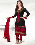 Black/Red Color Chicken Work Long Salwar Suit