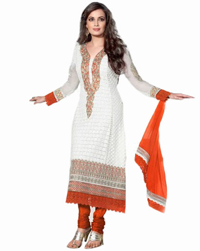 White/Orange Color Chicken Work Long Salwar Suit