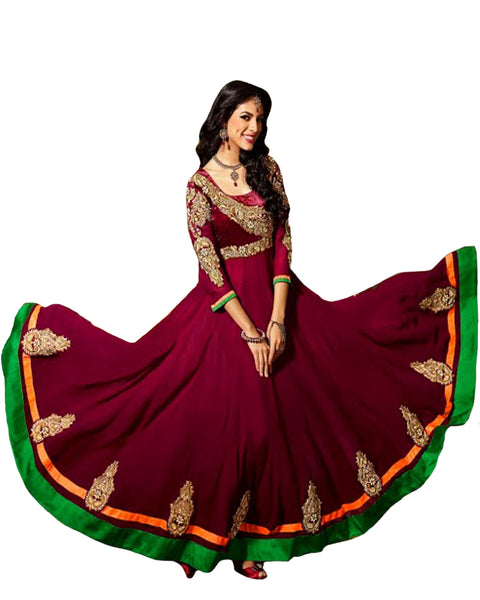 Maroon Color With Multi Patched Long Anarkali Salwar Suit