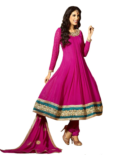 Magenta Color With Front Pleats Work Long Anarkali Salwar Suit