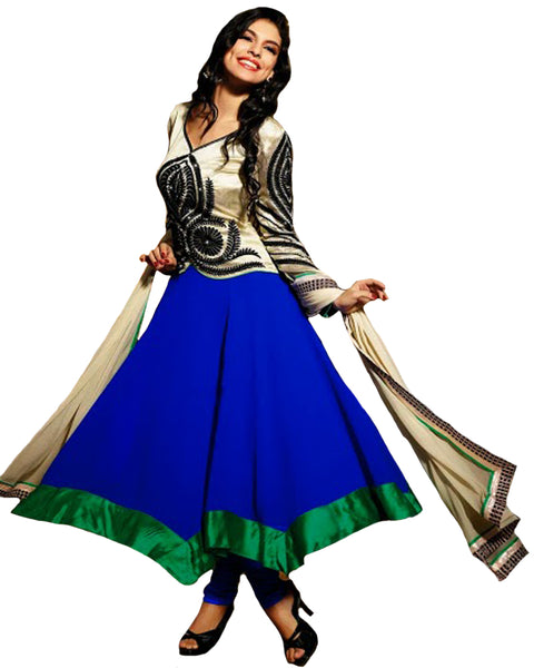Royal Blue & Cream Color Long Anarkali Salwar Suit