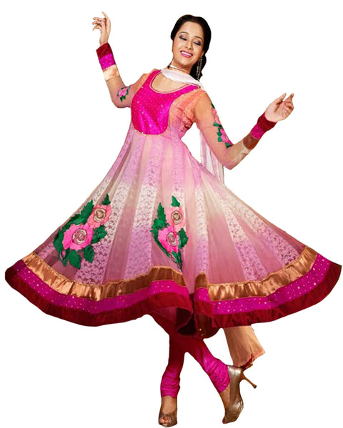 Pink Shaded With Heavy Floral Patched Long Anarkali Salwar Suit