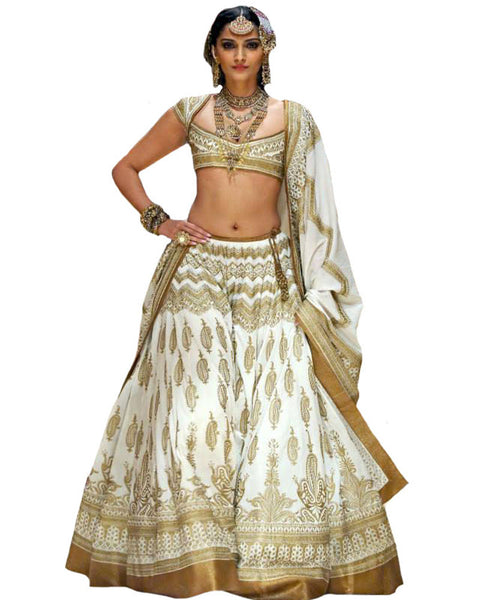 Bollywood Off White Color Sonam Kapoor Lehenga