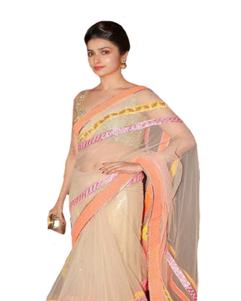 Bollywood Peach Color Prachi Desai Saree