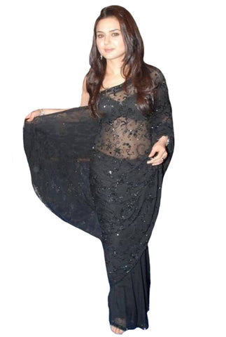 Bollywood Black Color Preety Black Beauty Saree
