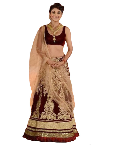 Bollywood Maroon Color Shilpa Shetty Lehenga