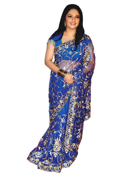 Bollywood Gracey Singh Blue Net Saree
