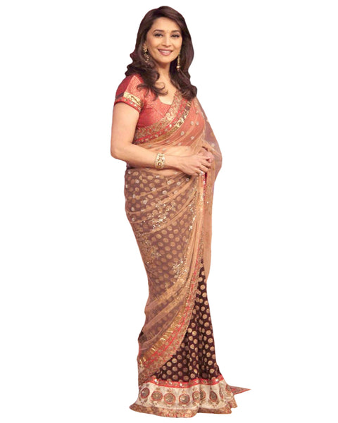 Bollywood Madhuri Dixit Dark Blue/Fawn Color Saree