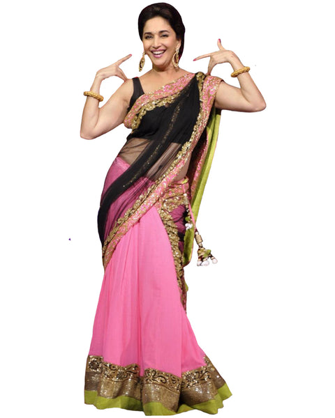Bollywood Madhuri Dixit Pink/Black Color Lehenga