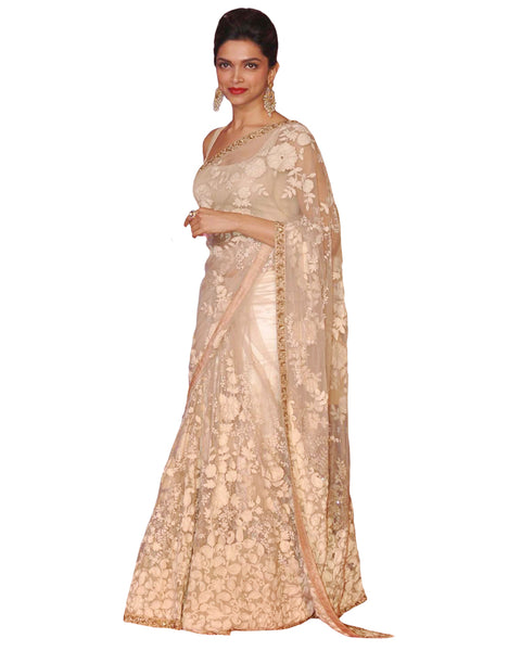 Bollywood Deepika Padukone Peach White Color Saree