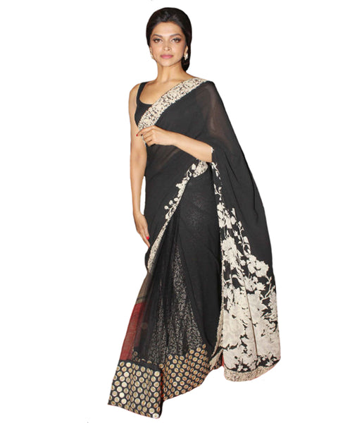 Bollywood Deepika Padukore Black Saree