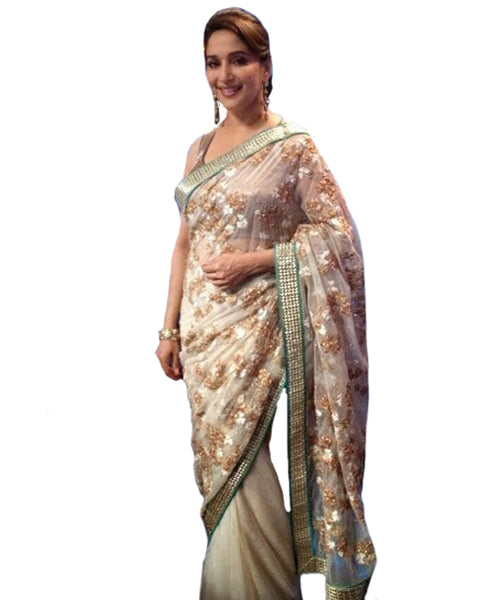 Bollywood Madhuri Dixit Beige Saree