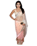 Bollywood Shreya Peach/White Saree