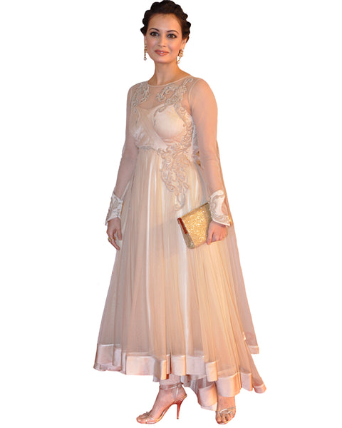 Bollywood Diya Mirza Beige Color Long Dress