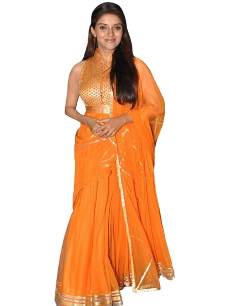Bollywood Aassin Orange Anarkali Long Dress