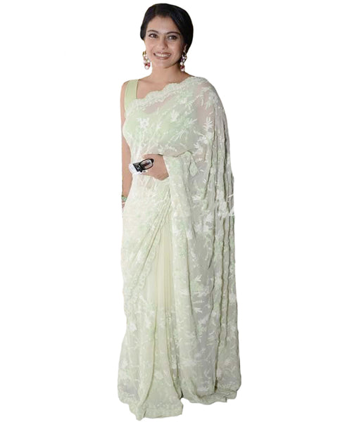 Bollywood Kajol Pista Color Saree