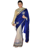 Bollywood Blue/Off White Saree