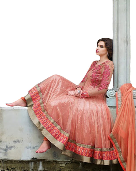 Peach Color Heavy Bottom Fall Long Length Anarkali Suit