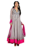 Designer Light Grey Color Long Anarkali Suit