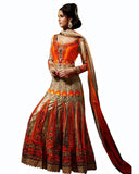 Exclusive Designer Golden/Orange Color Heavy Wedding Dress