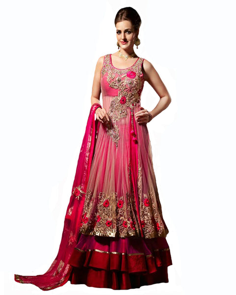 Exclusive Designer Pink Color Heavy Wedding Dress