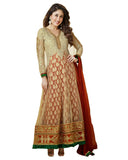 Bollywood Beige/Red Color Long Anarkali Suit