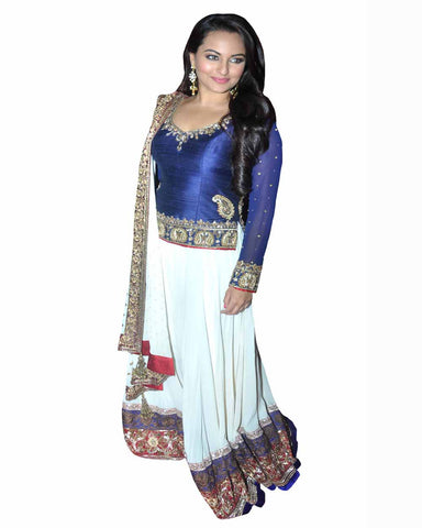 Bollywood Sonakshi in White/Blue Color Lehenga