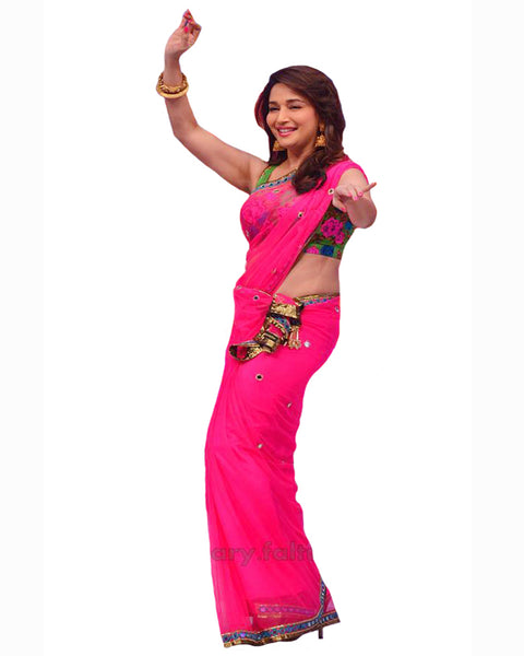 Bollywood Madhuri Dixit in Pink Color Saree
