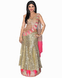 Bollywood Shilpa Shetty Golden Color Lehenga