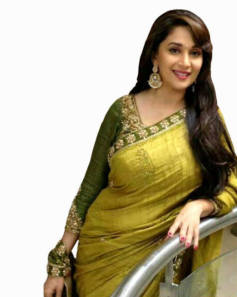 Bollywood Madhuri Dixit Lime Green Color Saree