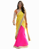 Bollywood Hansika Motwani Yellow/Pink Color Lehenga
