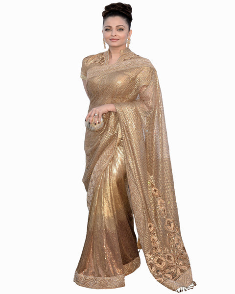 Bollywood Aishwarya Rai Golden Color Saree