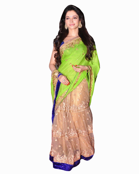Bollywood Tamanna Fawn/Green Color Lehenga Saree
