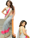 Bollywood Shraddha Das Grey Color Net Saree