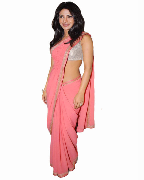 Bollywood Priyanka Pink Color Saree