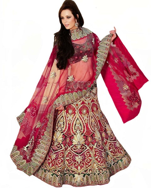 Heavy Embroidered Rose Pink Lehenga