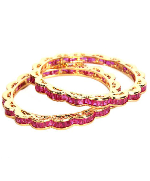 Designer Pink Color Bangles Set