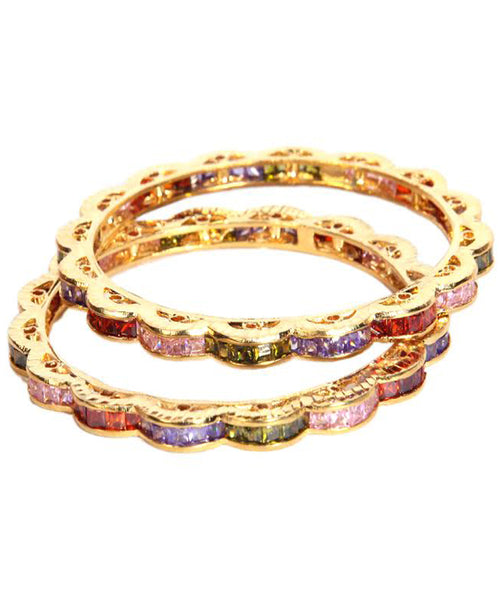 Designer Multi Color Stoned Bangles Set