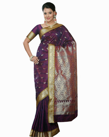 Dark Purple Color Dharmavaram Saree