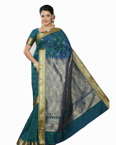 Green/Blue Color Dharmavaram Saree