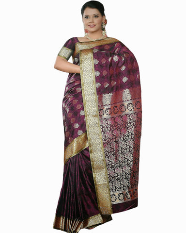 Magenta Color Dharmavaram Saree