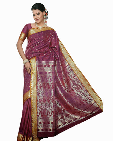 Deep Magenta Color Dharmavaram Saree