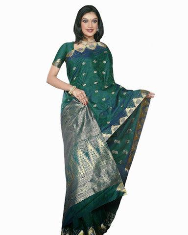 Peacock Green Color Dharmavaram Saree