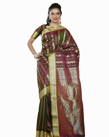 Mehendi Shaded Color Dharmavaram Saree