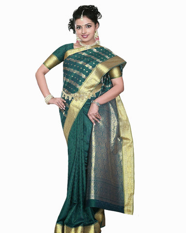 Zed Green Color Dharmavaram Saree