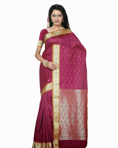 Deep Pink Color Dharmavaram Saree